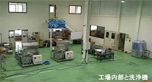 工場内部と洗浄機